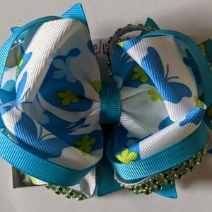 Blue butterfly boutique hairbow